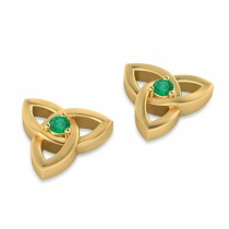 Emerald Celtic Knot Stud Earrings 14k Yellow Gold (0.10ct)