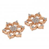 Diamond Six-Petal Flower Earrings 14k Rose Gold (0.26ct)