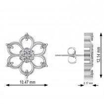 Diamond Six-Petal Flower Earrings 14k White Gold (0.26ct)