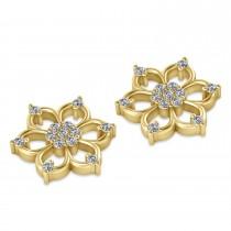 Diamond Six-Petal Flower Earrings 14k Yellow Gold (0.26ct)