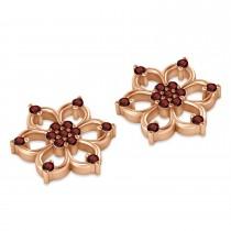 Garnet Six-Petal Flower Earrings 14k Rose Gold (0.26ct)