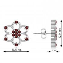 Garnet Six-Petal Flower Earrings 14k White Gold (0.26ct)