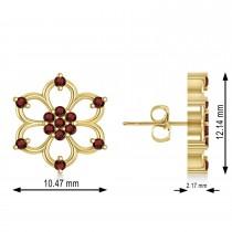 Garnet Six-Petal Flower Earrings 14k Yellow Gold (0.26ct)