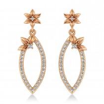 Diamond Flower Dangling Earrings 14k Rose Gold (0.58ct)