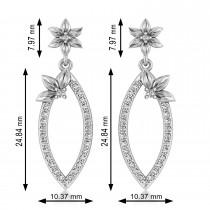Diamond Flower Dangling Earrings 14k White Gold (0.58ct)