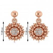 Diamond Sunflower Dangling Earrings 14k Rose Gold (0.14ct)
