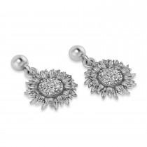 Diamond Sunflower Dangling Earrings 14k White Gold (0.14ct)