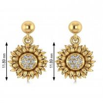 Diamond Sunflower Dangling Earrings 14k Yellow Gold (0.14ct)