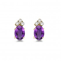 Oval Amethyst & Diamond Stud Earrings 14k Yellow Gold (1.24ct)