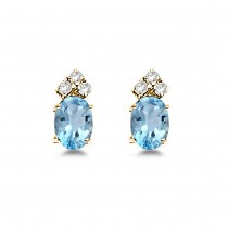Oval Aquamarine & Diamond Stud Earrings 14k Yellow Gold (1.24ct)