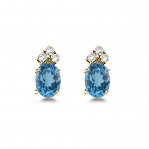 Oval Blue Topaz & Diamond Stud Earrings 14k Yellow Gold (1.24ct)