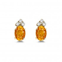 Oval Citrine & Diamond Stud Earrings 14k Yellow Gold (1.24ct)