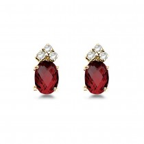 Oval Garnet & Diamond Stud Earrings 14k Yellow Gold (1.24ct)