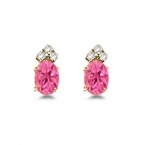 Oval Pink Tourmaline & Diamond Stud Earrings 14k Yellow Gold (1.24ct)