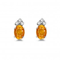 Oval Citrine & Diamond Stud Earrings 14k White Gold (1.24ct)