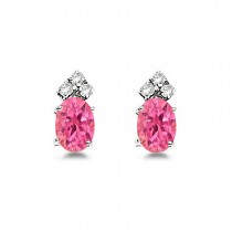 Oval Pink Tourmaline & Diamond Stud Earrings 14k White Gold (1.24ct)