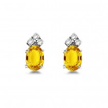 Oval Yellow Sapphire & Diamond Stud Earrings 14k White Gold (1.24ct)