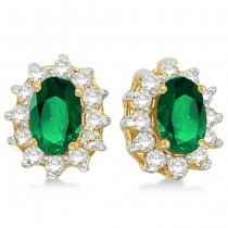 Oval Emerald & Diamond Accented Earrings 14k Yellow Gold (2.05ct)
