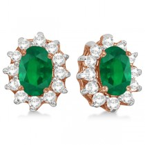 Oval Emerald & Diamond Accented Earrings 14k Rose Gold (2.05ct)