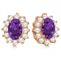 Oval Amethyst & Diamond Accented Earrings 14k Rose Gold (2.05ct)