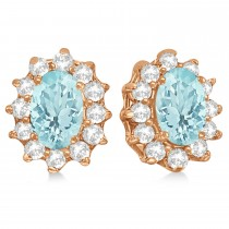 Oval Aquamarine & Diamond Accented Earrings 14k Rose Gold (2.05ct)