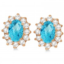Oval Blue Topaz & Diamond Accented Earrings 14k Rose Gold (2.05ct)