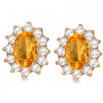 Oval Citrine & Diamond Accented Earrings 14k Rose Gold (2.05ct)