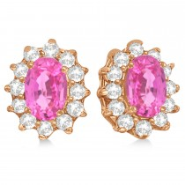 Oval Pink Sapphire & Diamond Accented Earrings 14k Rose Gold (2.05ct)