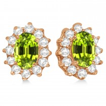 Oval Peridot & Diamond Accented Earrings 14k Rose Gold (2.05ct)