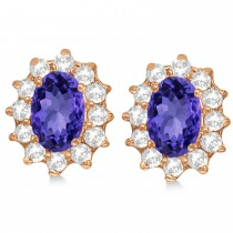 Oval Tanzanite & Diamond Accented Earrings 14k Rose Gold (2.05ct)