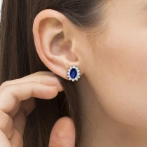 Oval Blue Sapphire & Diamond Accented Earrings 14k White Gold (2.05ct)|escape