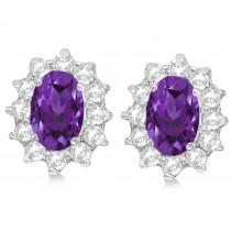 Oval Amethyst & Diamond Accented Earrings 14k White Gold (2.05ct)