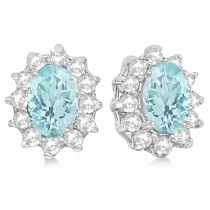 Oval Aquamarine & Diamond Accented Earrings 14k White Gold (2.05ct)
