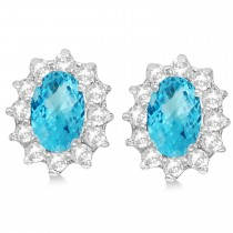 Oval Blue Topaz & Diamond Accented Earrings 14k White Gold (2.05ct)|escape