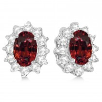 Oval Garnet & Diamond Accented Earrings 14k White Gold (2.05ct)