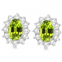 Oval Peridot & Diamond Accented Earrings 14k White Gold (2.05ct)|escape