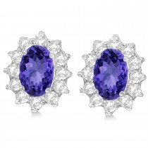 Oval Tanzanite & Diamond Accented Earrings 14k White Gold (2.05ct)