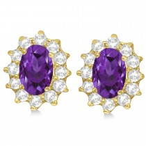 Oval Amethyst & Diamond Accented Earrings 14k Yellow Gold (2.05ct)