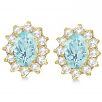 Oval Aquamarine & Diamond Accented Earrings 14k Yellow Gold (2.05ct)