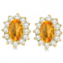 Oval Citrine & Diamond Accented Earrings 14k Yellow Gold (2.05ct)