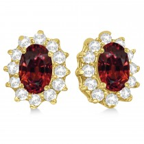Oval Garnet & Diamond Accented Earrings 14k Yellow Gold (2.05ct)