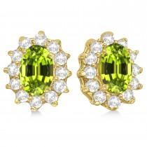 Oval Peridot & Diamond Accented Earrings 14k Yellow Gold (2.05ct)