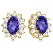 Oval Tanzanite & Diamond Accented Earrings 14k Yellow Gold (2.05ct)