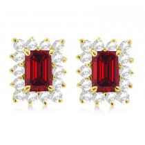 Emerald-Cut Ruby & Diamond Stud Earrings 14k Yellow Gold (1.80ctw)