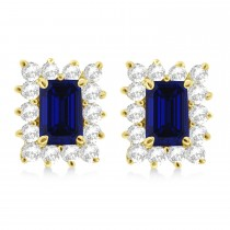 Emerald-Cut Sapphire & Diamond Stud Earrings 14k Yellow Gold (1.80ctw)