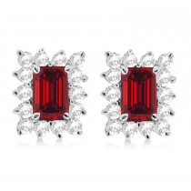 Emerald-Cut Ruby & Diamond Stud Earrings 14k White Gold (1.80ctw)