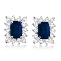 Emerald-Cut Sapphire & Diamond Stud Earrings 14k White Gold (1.80ctw)
