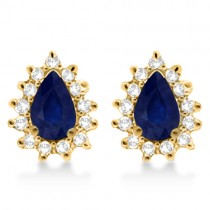 Blue Sapphire & Diamond Teardrop Earrings 14k Yellow Gold (1.10ctw)