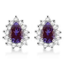 Lab Alexandrite & Diamond Teardrop Earrings 14k White Gold (1.10ctw)