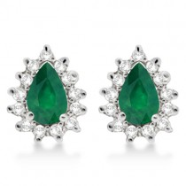 Emerald & Diamond Teardrop Earrings 14k White Gold (1.10ctw)